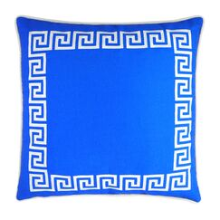 Wave Key Modern Greek Key Throw Pillow Color: Blue