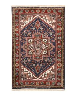 Aren Hand-Knotted Wool Blue/Red Area Rug Rug Size: Rectangle 9' x 12'