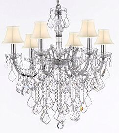 Alvarado 6-Light Chrome/Beige Shaded Chandelier