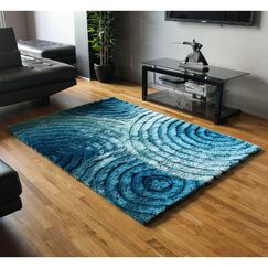 Concentric Waves Textured Gradated Shag Blue Area Rug