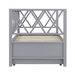 Hayes X Back Daybed with Trundle Color: Gray