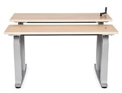 Equity Bi-Level Height Adjustable Computer Table Tabletop Finish: Fresh Canvas, Size: 38