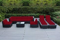 Ohana 9 Piece Sunbrella Sectional Set with Cushions Fabric: Sunbrella Jockey Red, Color: Black