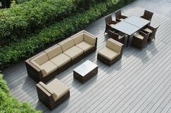 Ohana 14 Piece Complete Patio Set with Cushions Fabric: Sunbrella Natural, Color: Mixed Brown