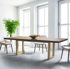 Cisbrough Burnished Extendable Solid Wood Dining Table Top Color: Natural, Base Color: Burnished Gold, Size: 30