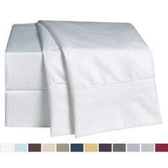 Embossed Checkerboard Design Sheet Set Color: White, Size: Queen