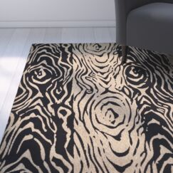 Coffee/Black Area Rug Rug Size: Rectangle 6'7