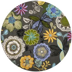 Hayes Hand Woven Gray/Green Indoor/Outdoor Area Rug Rug Size: Round 6'