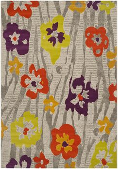 Nanette Light Grey / Purple Floral and Plant Rug Rug Size: Rectangle 6' x 9'