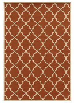 Heidy Geometric Orange/Ivory Indoor/Outdoor Area Rug Rug Size: Rectangle 2'5