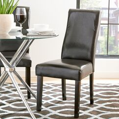 Benites Curved-Back Dining Chair Upholstery Color: Dark brown Faux Leather