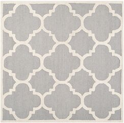 Charlenne Hand-Tufted Wool Silver/Ivory Area Rug Rug Size: Rectangle 6' x 6'