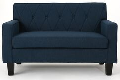 Peiffer Button Stitch Loveseat Upholstery: Navy Blue