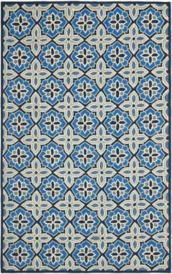 Doyle Blue Hooked Outdoor Area Rug Rug Size: Rectangle 5' x 8'