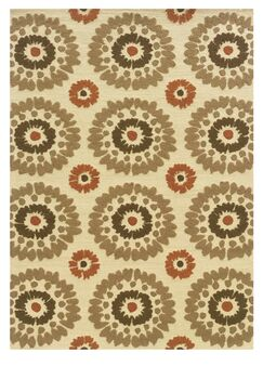 Savanah Hand-Tufted Ivory/Brown Outdoor Area Rug Rug Size: Rectangle 1'10