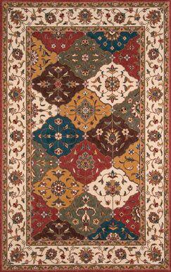 Meredosia Red/Orange/Teal Area Rug Rug Size: Rectangle 5' x 8'