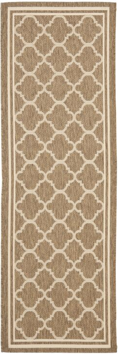 Short Brown/Bone Outdoor Area Rug Rug Size: Runner 2'3