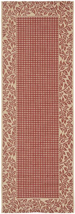 Short Woven Red / Natural Indoor/Outdoor Rug Rug Size: Runner 2'4