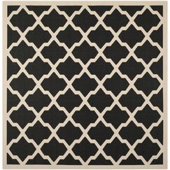 Short Black/Beige Trellis Outdoor Rug Rug Size: Square 4'