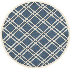 Short Ivory/Blue Indoor/Outdoor Area Rug Rug Size: Round 5'3
