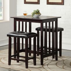 Richland 3 Piece Counter Height Pub Table Set Color: Espresso