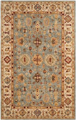 Ashville Hand-Tufted Blue / Ivory Area Rug Rug Size: Rectangle 4' x 6'