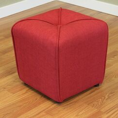 Mapletown Cube Ottoman Color: Deep Red