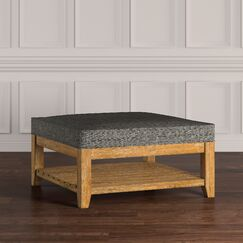 Back East Cocktail Ottoman Upholstery: Gray, Base Finish: Natural