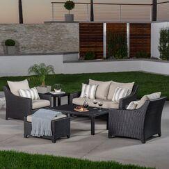 Northridge 6 Piece Rattan Sunbrella Sofa Set with Cushions Fabric: Slate
