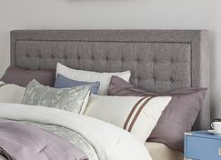 Woodside Upholstered Panel Headboard Size: Eastern King, Upholstery: Gray