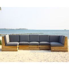 Seaside 7 Piece Teak Sunbrella Sectional Set with Cushions Fabric: Sea