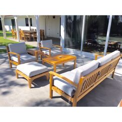 Waterford 15 Piece Patio Dining Set with Cushions Fabric: Ginko