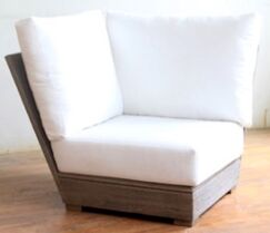 Constance Teak Outdoor Sectional Corner Chair with Sunbrella Cushion Fabric: Black