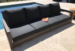 Yandell Teak Outdoor Sofa with Cushions Fabric: Mist
