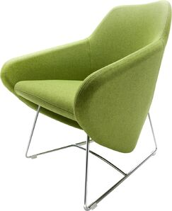 Taxido Sled Base Lounge Chair Finish: Aluminum, Upholstery: Momentum Fuse Fabric Saffron