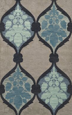 Bella Machine Woven Wool Gray/Blue Area Rug Rug Size: Rectangle 8' x 10'
