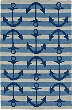 Bovina Hand-Tufted Blue/Ivory Area Rug Rug Size: Rectangle 5' x 7'6