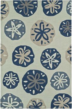 Bovina Hand-Tufted Ivory/Blue Area Rug Rug Size: Rectangle 3'6