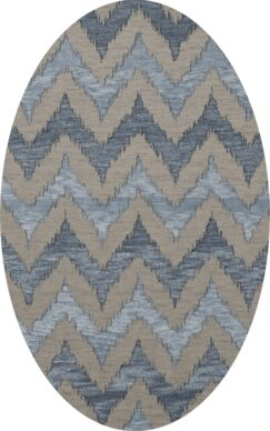 Bella Machine Woven Wool Gray Area Rug Rug Size: Oval 6' x 9'