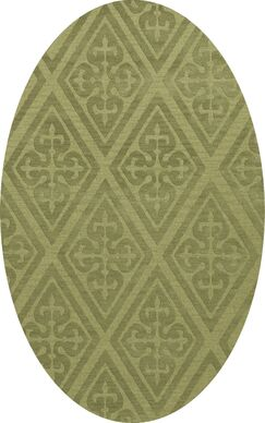 Bella Machine Woven Wool Green Area Rug Rug Size: Oval 4' x 6'