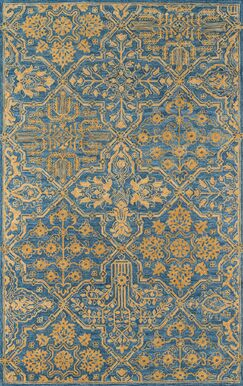 Worreno Hand-Tufted Wool Indoor Blue Oriental Area Rug Rug Size: Rectangle 7'6