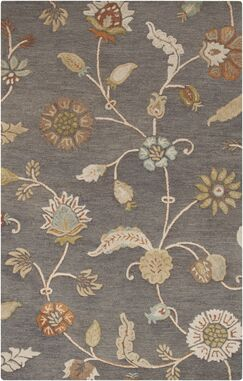 Stowe Slate Floral Rug Rug Size: Rectangle 8' x 11'