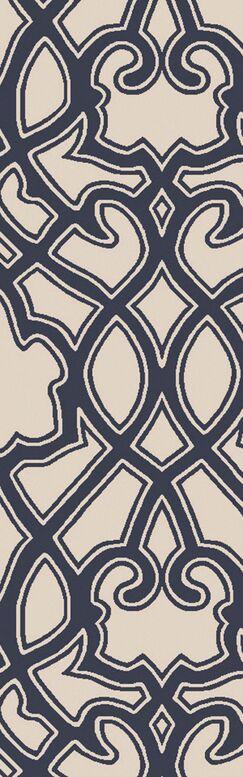 LaGrange Ivory & Navy Area Rug Rug Size: Runner 2'6