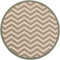 Breana Ivory/Taupe Indoor/Outdoor Area Rug Rug Size: Round 7'3