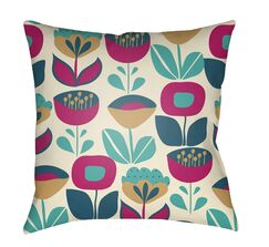 Arbor Lake Flower Indoor Throw Pillow Size: 18