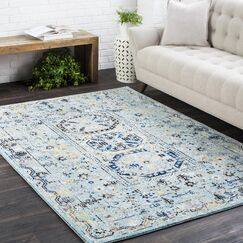 Arteaga Traditional Vintage Light Blue Area Rug Rug Size: 2'7