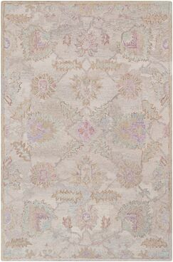 Kendall Green Floral Hand Hooked Wool Khaki/Taupe Area Rug Rug Size: Rectangle 2' x 3'