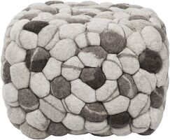 Parsons Pouf Upholstery: Winter White / Charcoal Gray