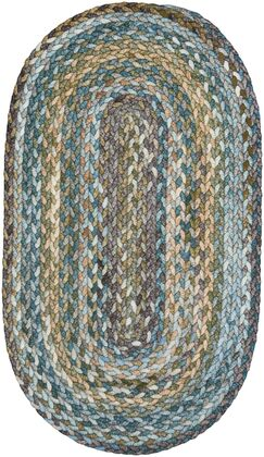 Ryland Braided Green/Blue Area Rug Rug Size: Oval 7' x 9'