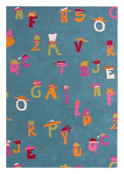 Fantasia Blue Alphabet Area Rug Rug Size: Rectangle 3' x 5'